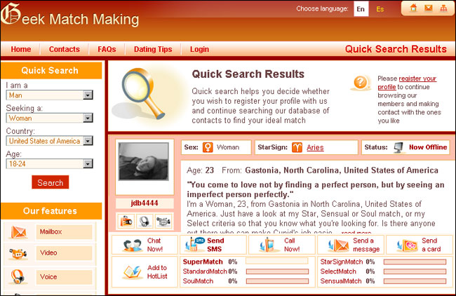 match making profile Some internet dating sites do not remove obsolete profiles, and thus falsely inflating the number of possible dates of their service no matter how dating rituals have advanced and changed over the centuries, there is one thing that is always true it is a woman's world when it comes to romance.